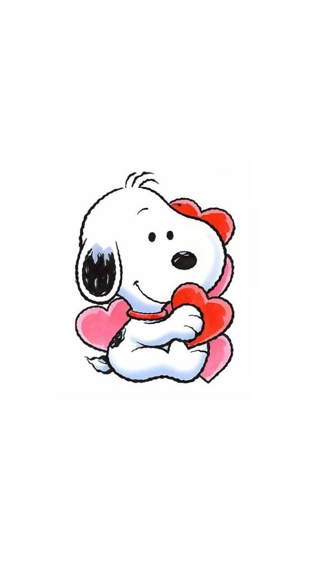 BABY SNOOPY WITH HEARTS, IPHONE WALLPAPER BACKGROUND | Snoopy ...