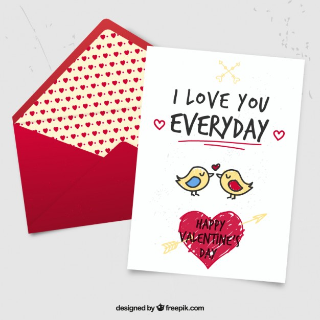 Cute hand drawn birds valentine card Vector | Free Download