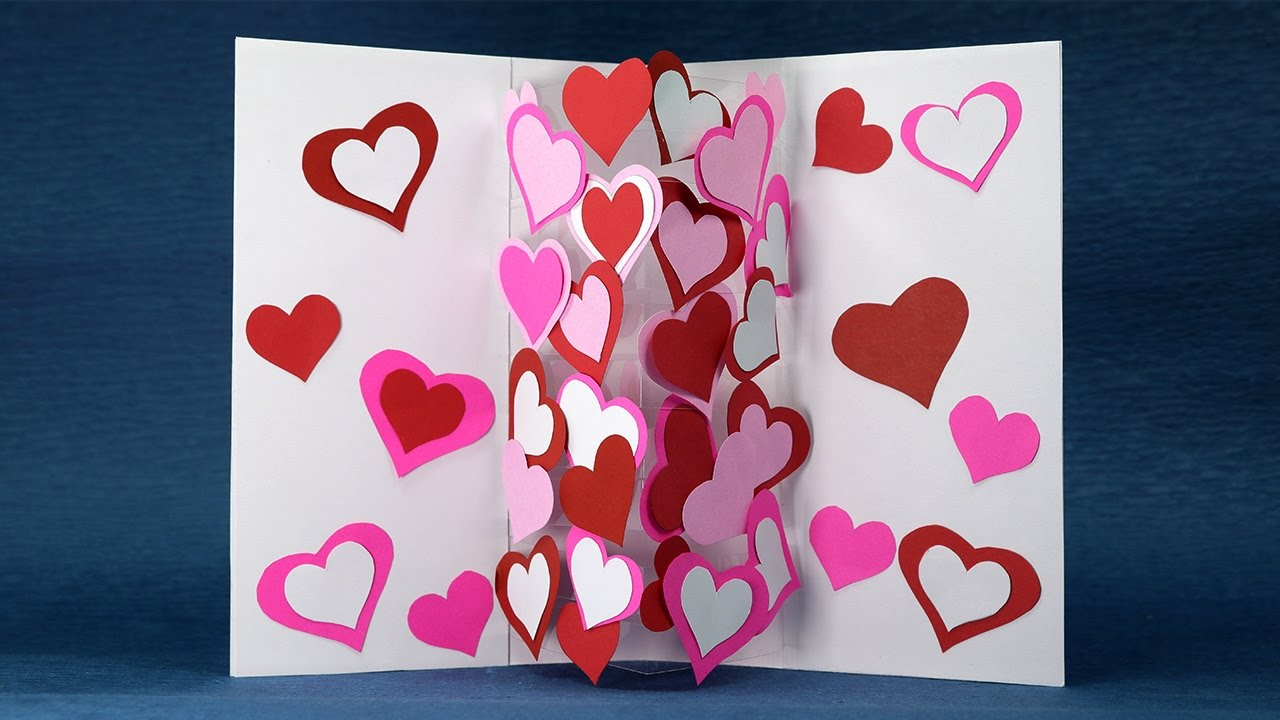 Homemade Valentine Card - DIY Pop Up Heart Card Easy Tutorial ...