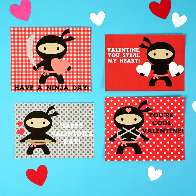 Ninja Printable Valentines Cards - Happiness is Homemade