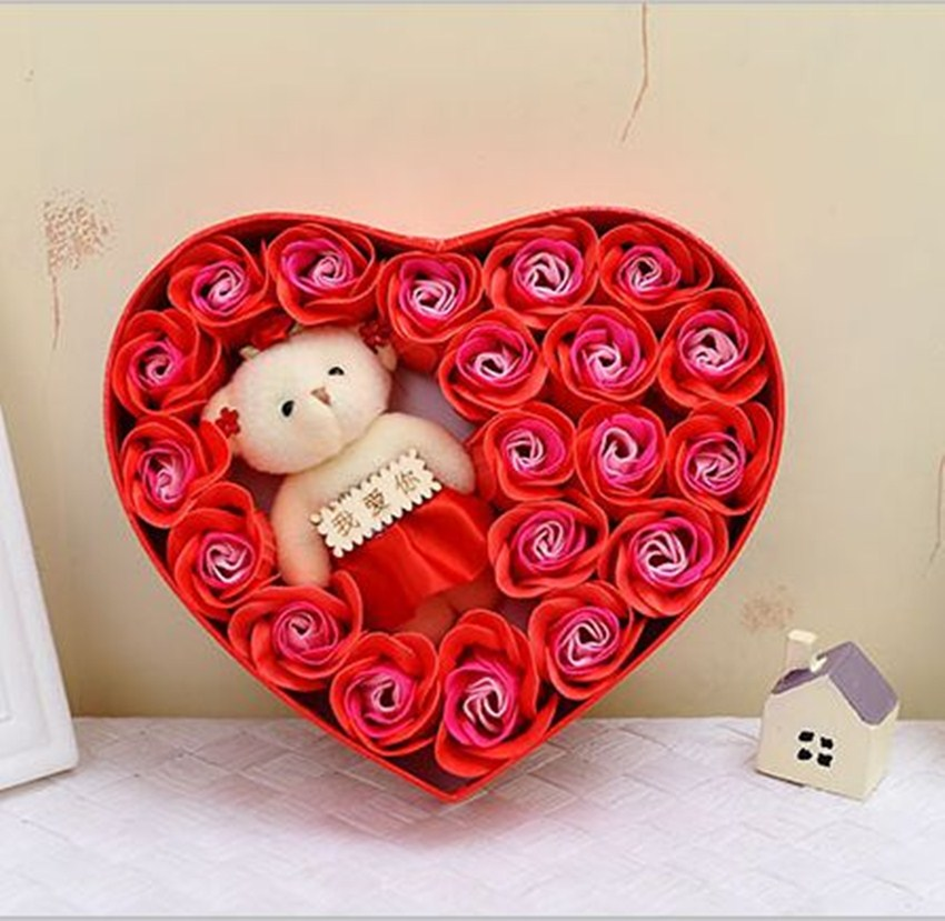 Valentine gift Soap rose flower (gift packing) 20pcs rose +1 bear ...