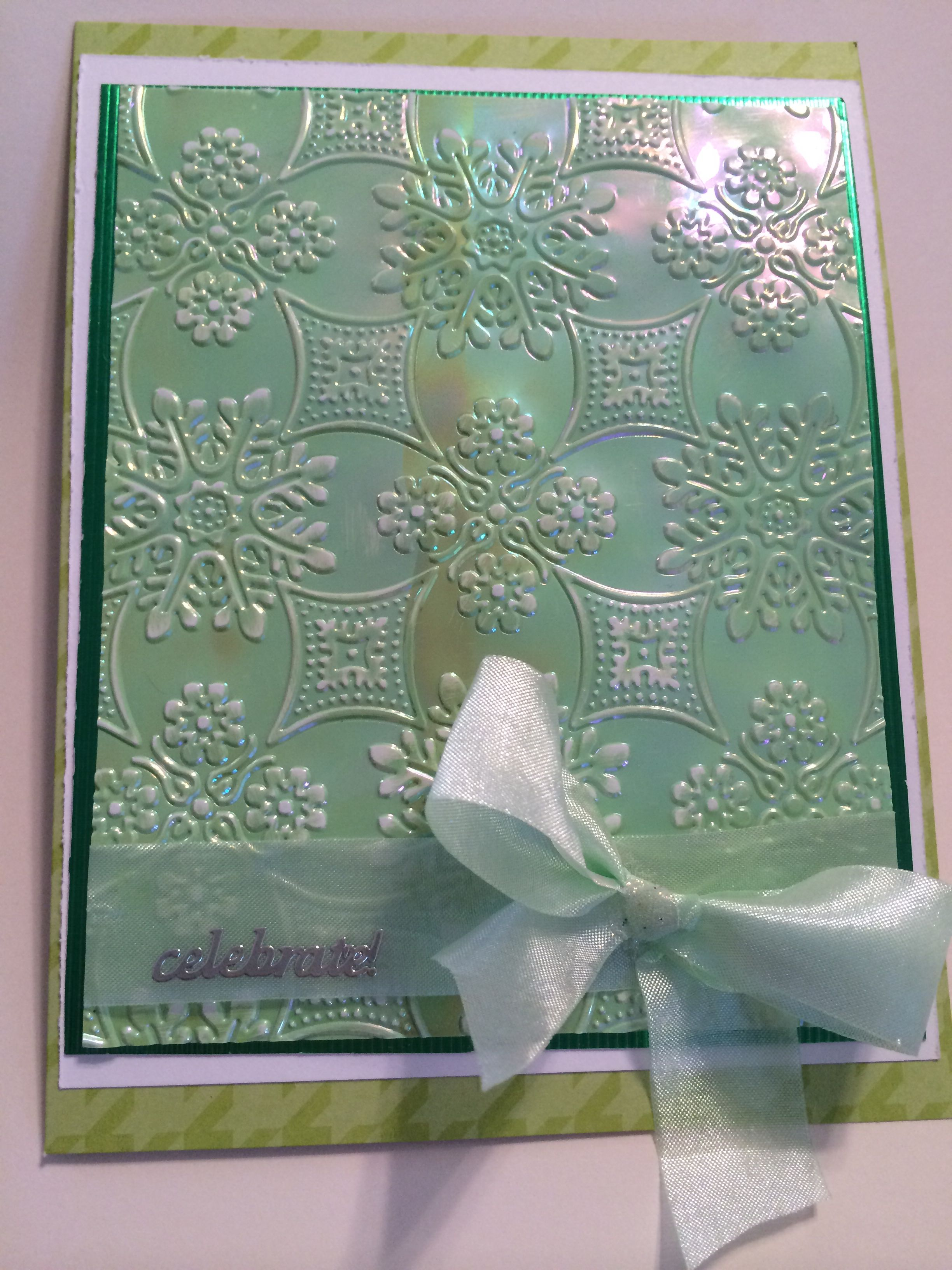 Pale green gem stone shimmer sheet and embossing folder. Mothers ...