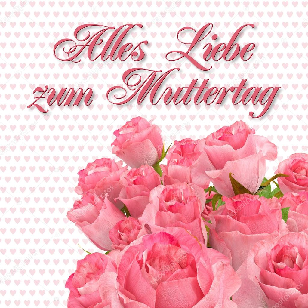 Greeting Card - Alles Liebe zum Muttertag - Roses — Stock Photo ...