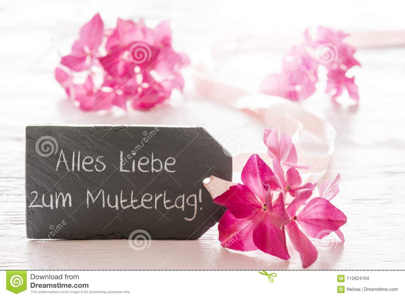 Hydrangea Blossom, Muttertag Means Happy Mothers Day Stock Photo ...